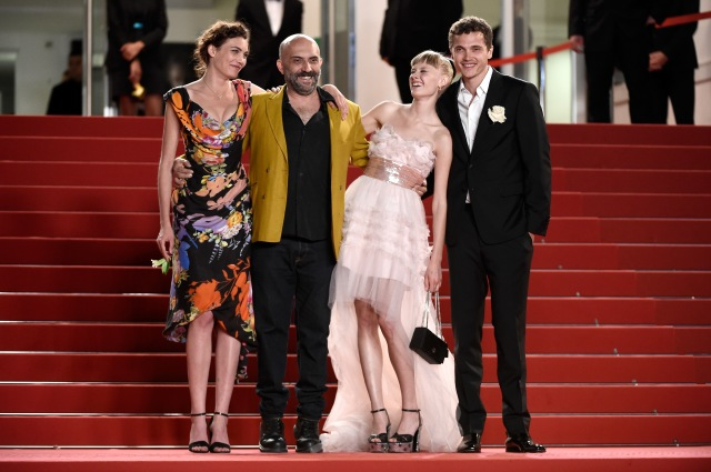"CANNES, FRANCE - MAY 20:  (L-R) Aomi Muyock, director Gaspar Noe, Klara Kristin and Karl Glusman attend the ""Love"" Premiere  during the 68th annual Cannes Film Festival on May 20, 2015 in Cannes, France.  (Photo by Ian Gavan/Getty Images)"