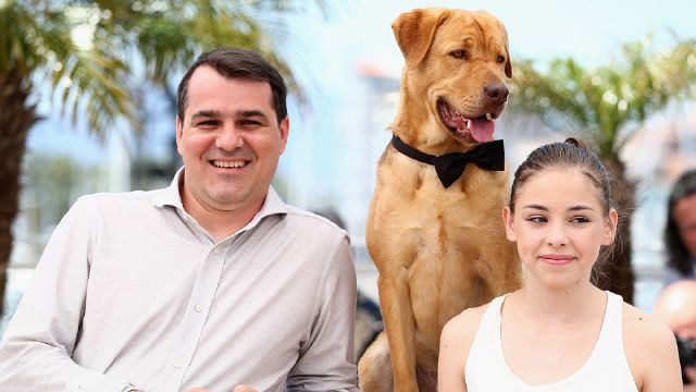 "CANNES, FRANCE - MAY 17: (L-R) Director Kornel Mundruczo, Dog actor Hagen and actress Zsofia Psotta attend the ""Feher Isten"" photocall at the 67th Annual Cannes Film Festival on May 17, 2014 in Cannes, France. (Photo by Andreas Rentz/Getty Images)"